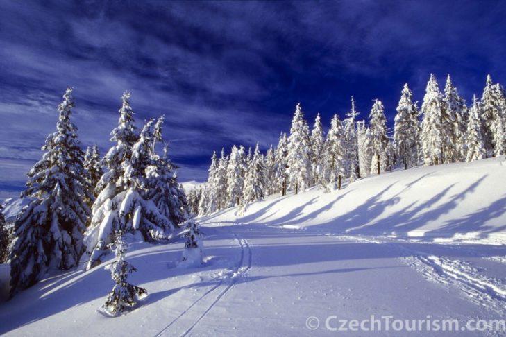 Schneereiche Landschaft im tschechischen Riesengebirge.