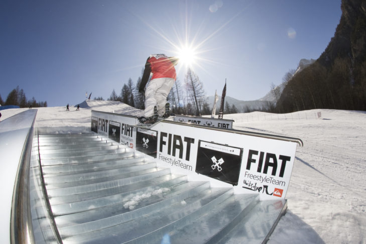 Snowpark im Skigebiet Bardonecchia.