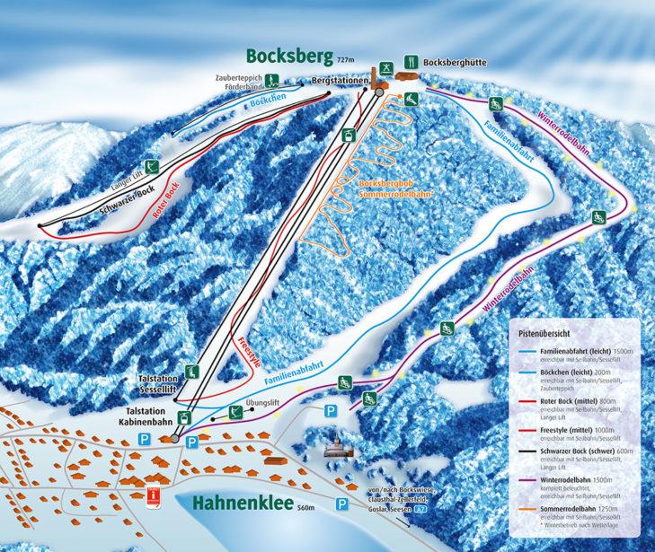 Pistenplan Skigebiet Bocksberg.