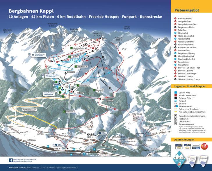Pistenplan Skigebiet Kappl.