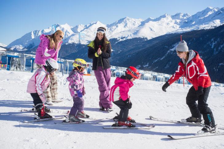 Kinderskikurs im Skigebiet Kappl.