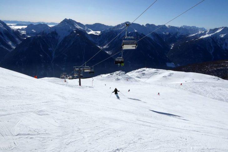 Skigebiet Schwemmalm: Traumhafter Blick aufs Meraner Land.