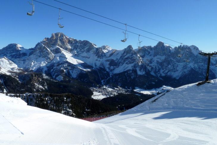 Vor der Kulisse der Dolomiten: Das Skigebiet San Martino di Castrozza.