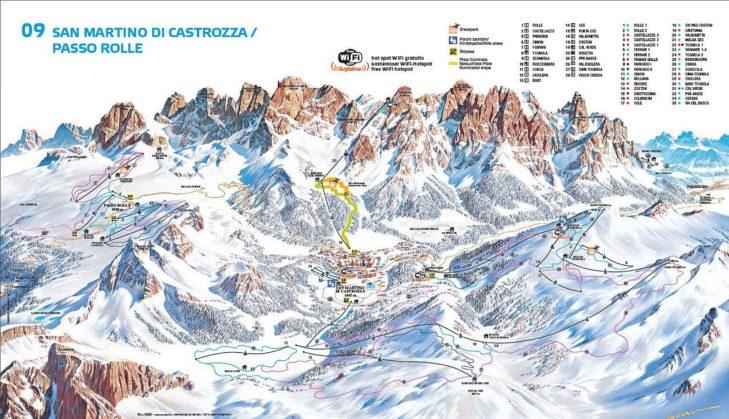 Pistenplan Skigebiet San Martino di Castrozza.