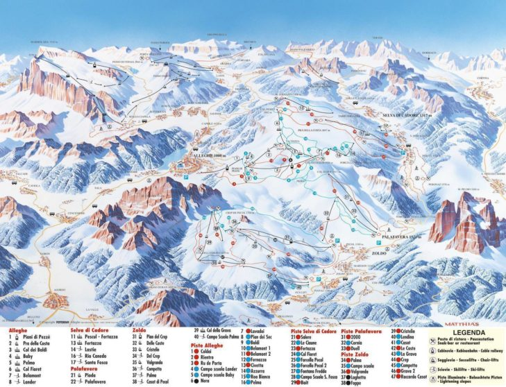 Pistenplan Skigebiet Civetta.