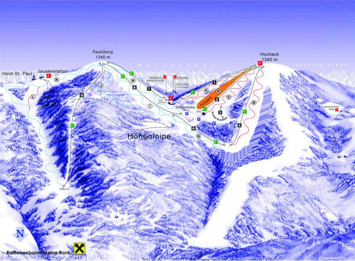 Pistenplan Skigebiet Simonhöhe.