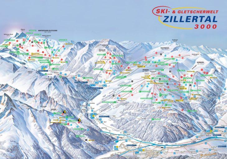 Pistenplan Ski- & Gletscherwelt Zillertal 3000.