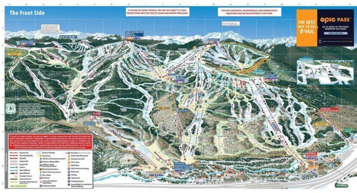 Pistenplan Skigebiet Vail.