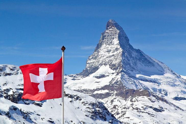 Das berühmte Matterhorn in der Schweiz.