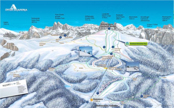 Pistenplan Skigebiet Rittner Horn.