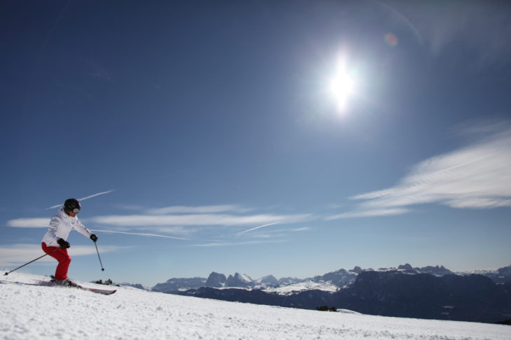 Herrlicher Sonnenschein beim Skifahren im Skigebiet Rittner Horn.
