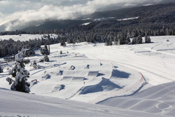 Der Snowpark im Skigebiet Rittner Horn.