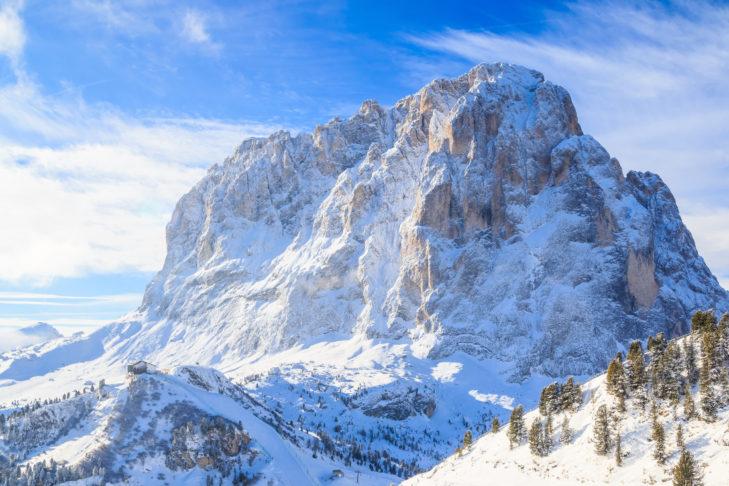 Gewaltiges Bergmassiv im Skigebiet Gröden/Seiser Alm.