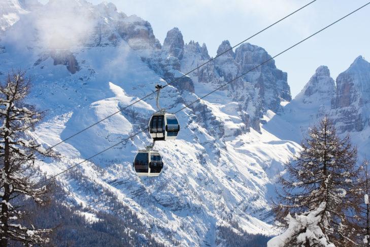 Im Skigebiet Madonna di Campiglio geht's hoch hinauf.