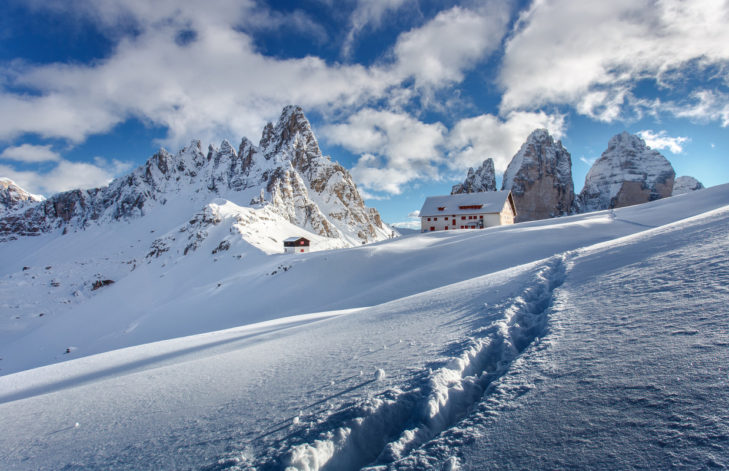 "Bergformation ""Die Drei Zinnen"" in den Dolomiten."