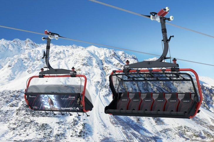 Sessel der neuen Gampenbahn E4 mit Tiermotiven auf der Rückseite.