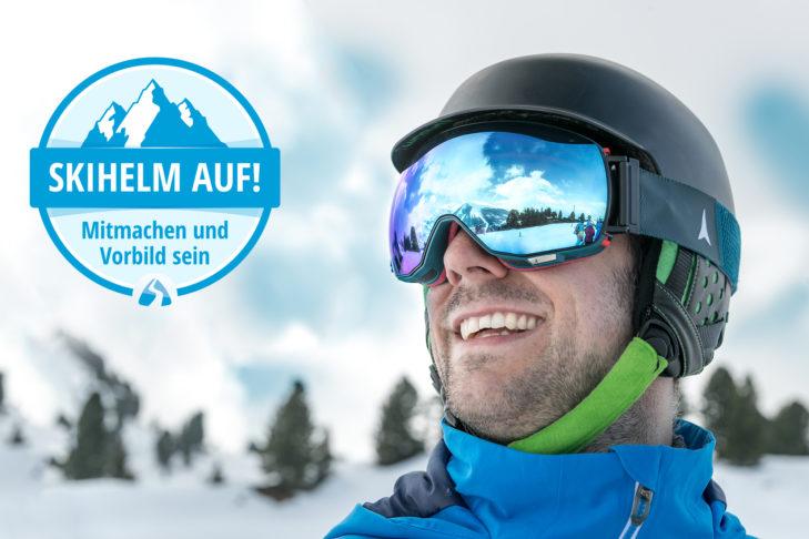 """Eine der SnowTrex-Aufklärungskampagnen: """"Skihelm auf! Mitmachen und Vorbild sein."""""""