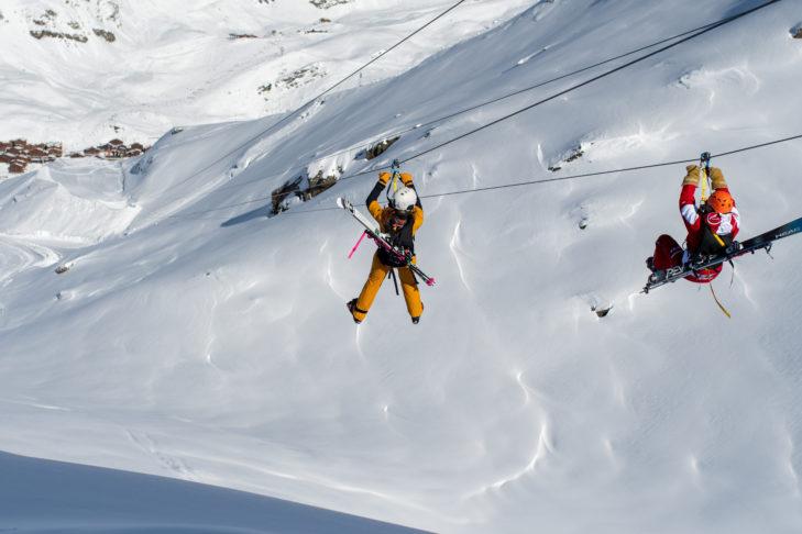 Auch zu zweit kann man die abenteuerliche Fahrt in Val Thorens genießen.