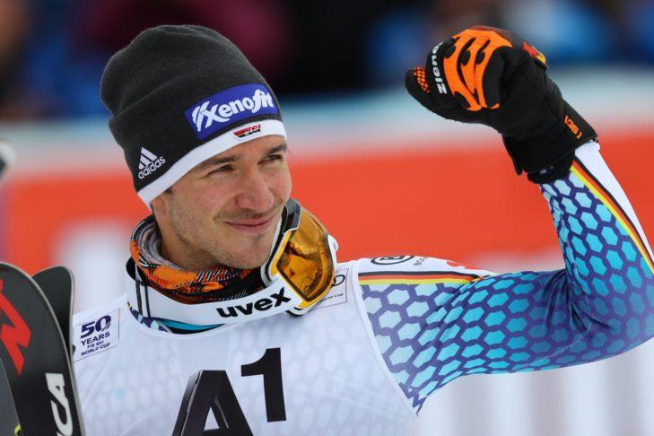 Felix Neureuther freut sich über seine Slalom-Medaille bei der WM 2017 in St. Moritz.