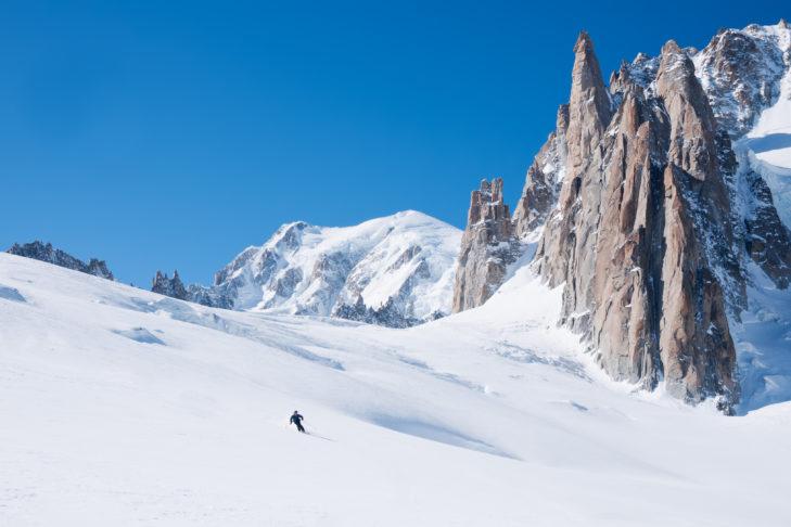 Beim Einstieg in die Vallée Blanche ist Nervenstärke gefragt!