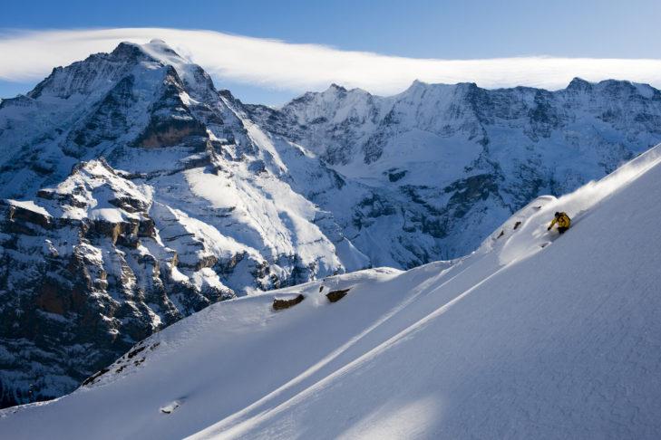 Freeriden am Schilthorn in der Jungfrau Region.